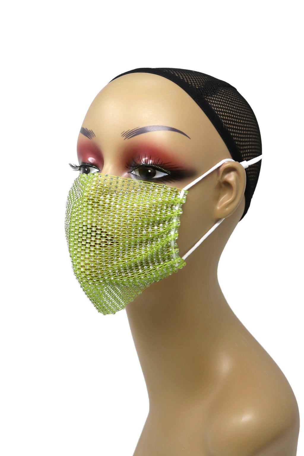 Grid Rhinestone Crystal Mask(Lime)
