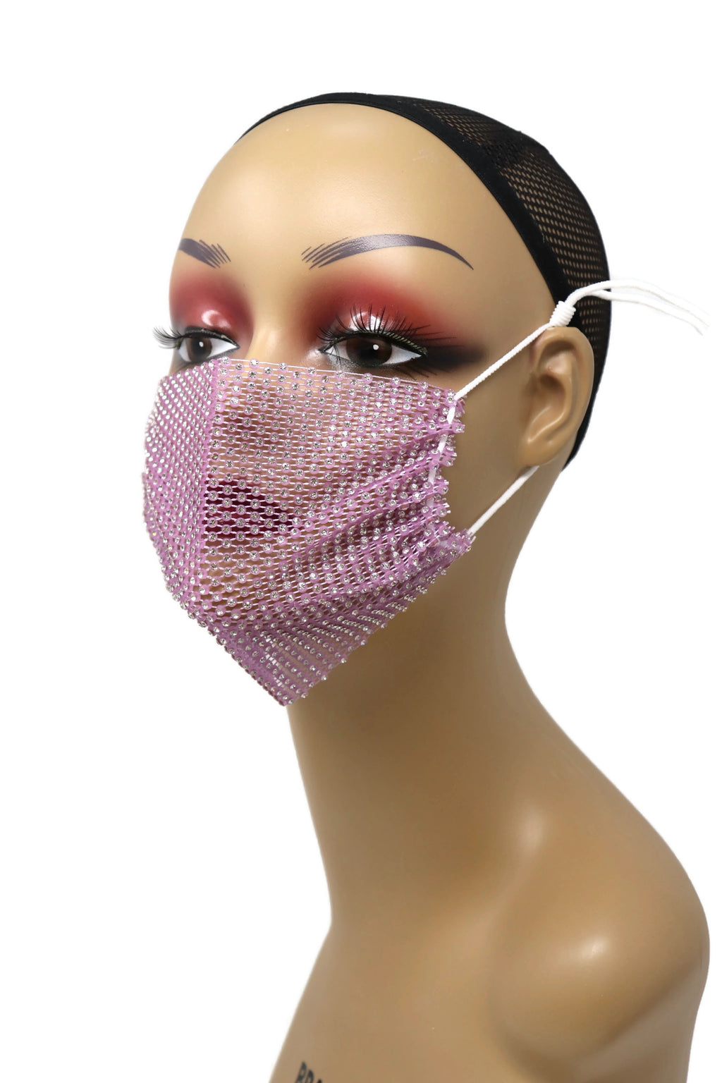 Grid Rhinestone Crystal Mask(Light Purple)