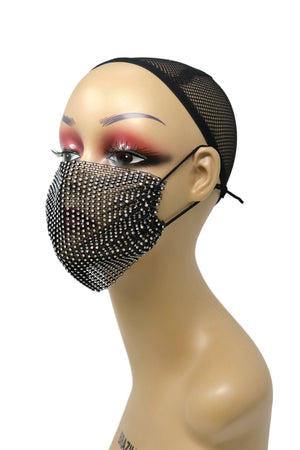 Grid Rhinestone Crystal Mask (Black clear)
