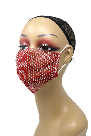 Grid Rhinestone Crystal Mask(red)