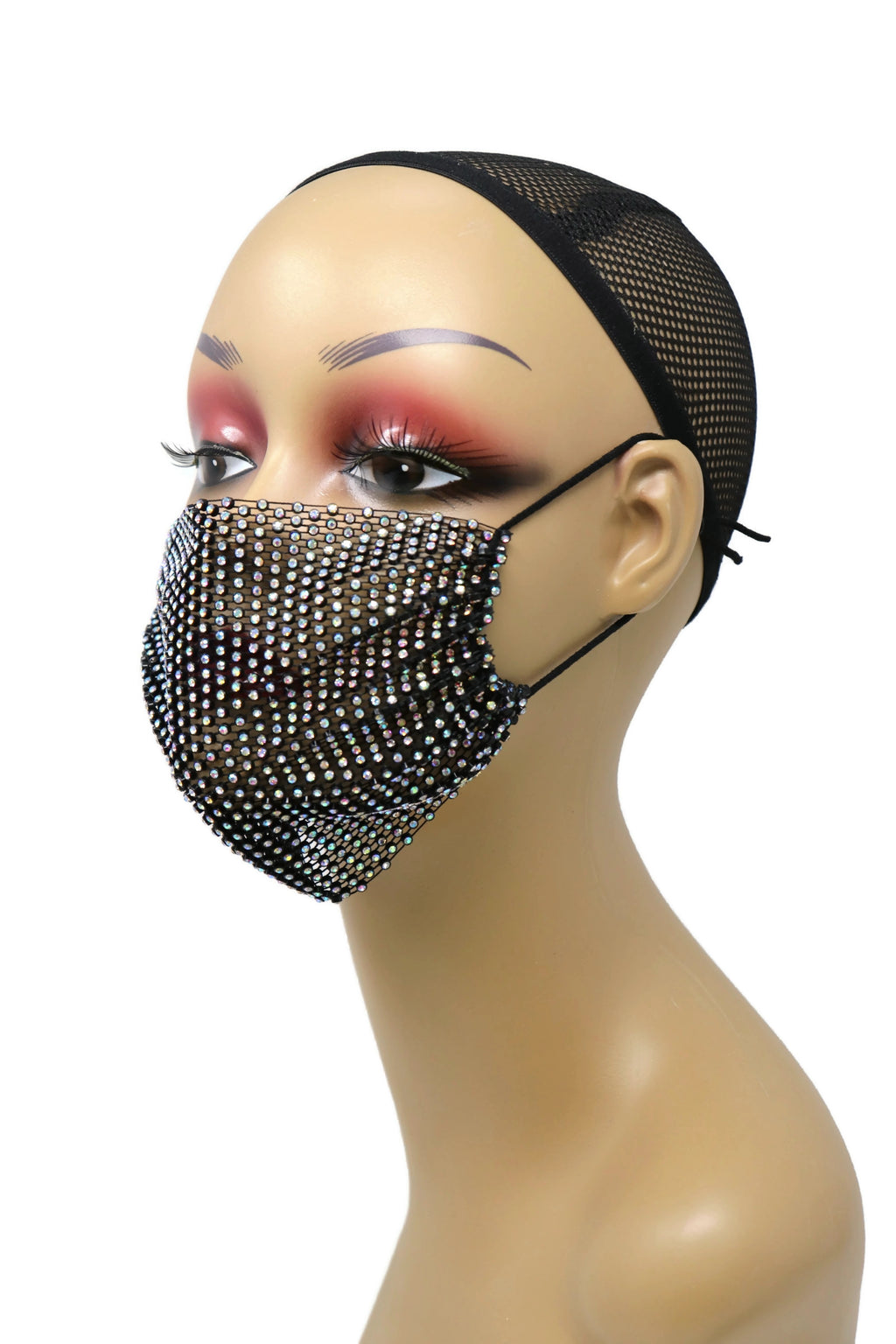 Grid Rhinestone Crystal Mask Iridescence black