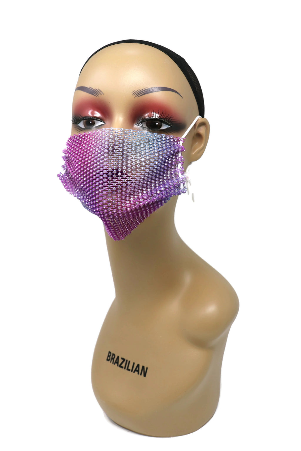Grid Rhinestone Crystal Mask (Purple Multi)