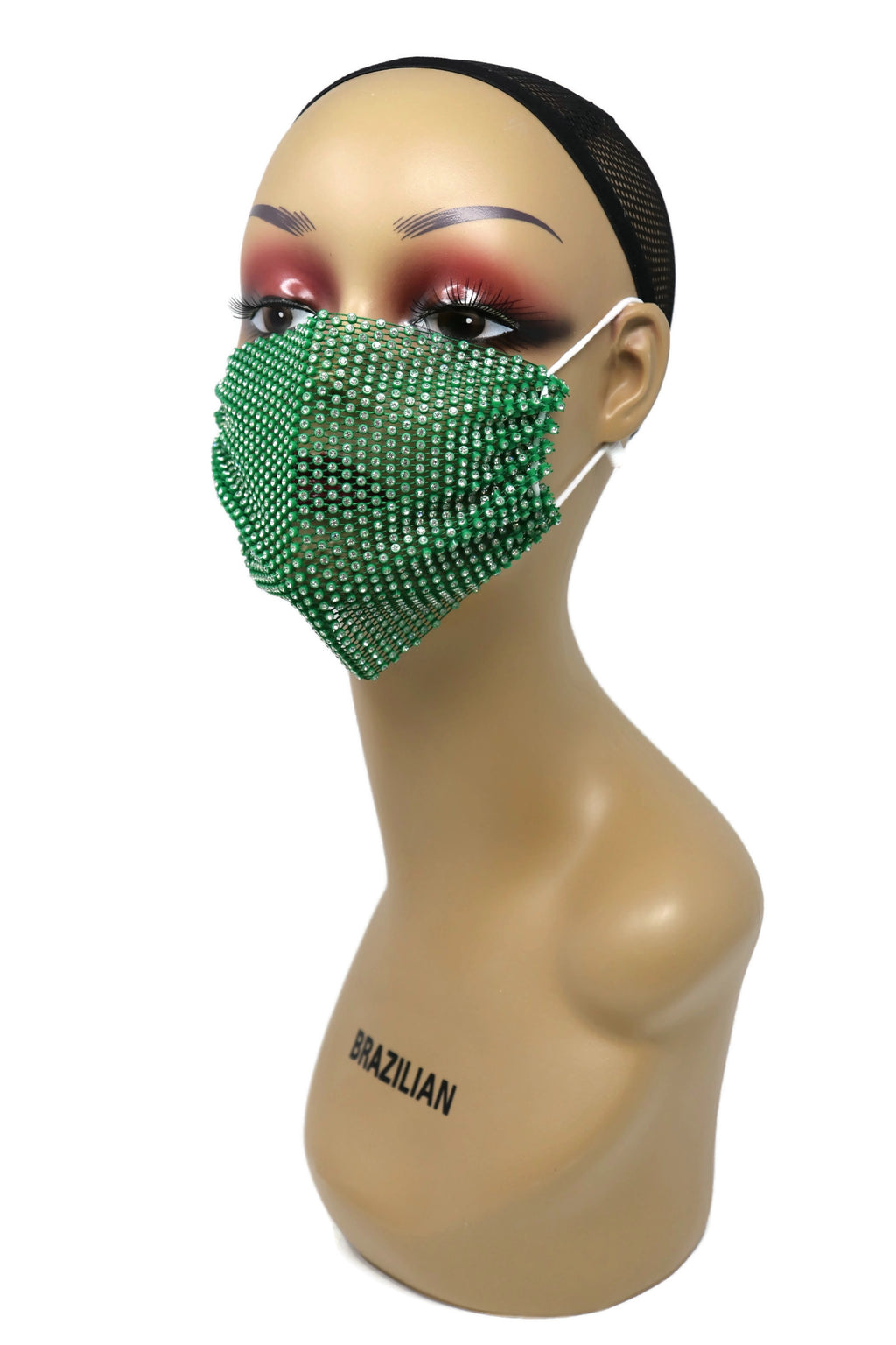 Grid Rhinestone Crystal Mask (Green)
