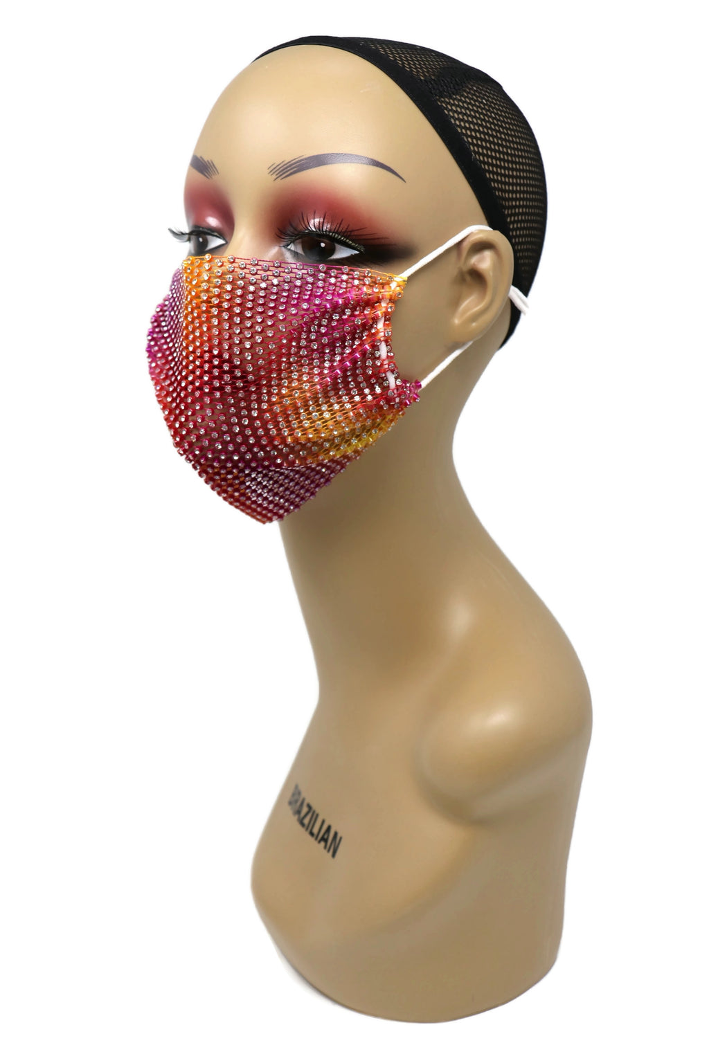 Grid Rhinestone Crystal Mask(Red Multi)