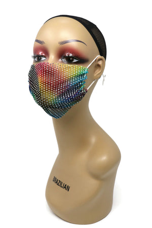 Grid Rhinestone Crystal Mask(Dark Multi Color)