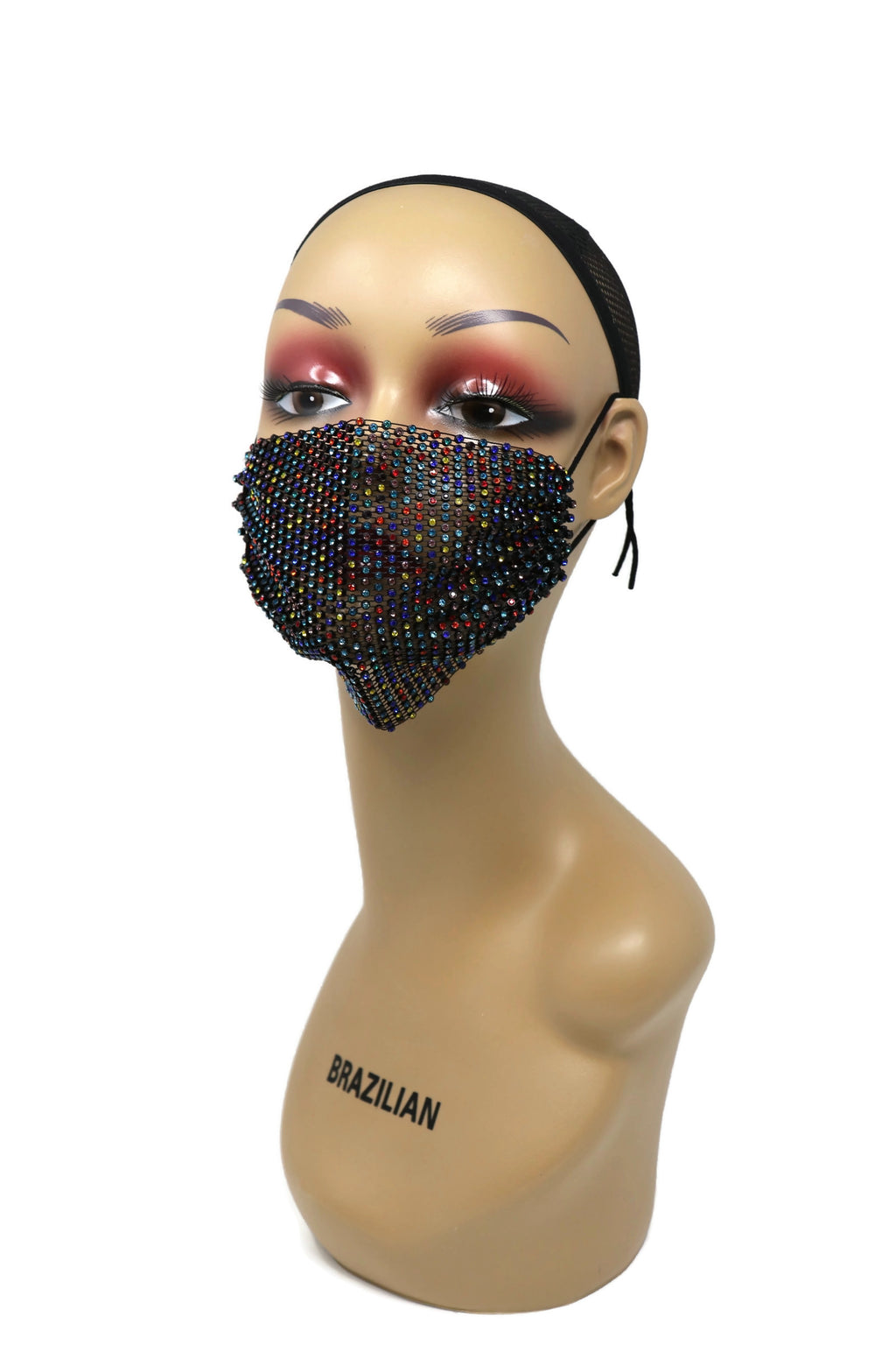 Grid Rhinestone Crystal Mask (Black Multi)