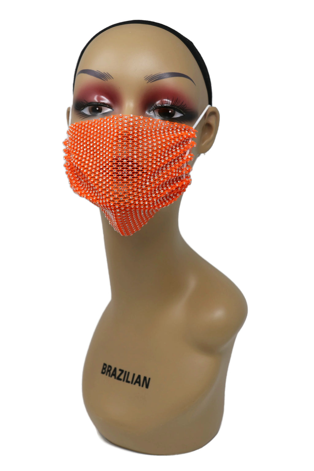 Grid Rhinestone Crystal Mask(Orange)