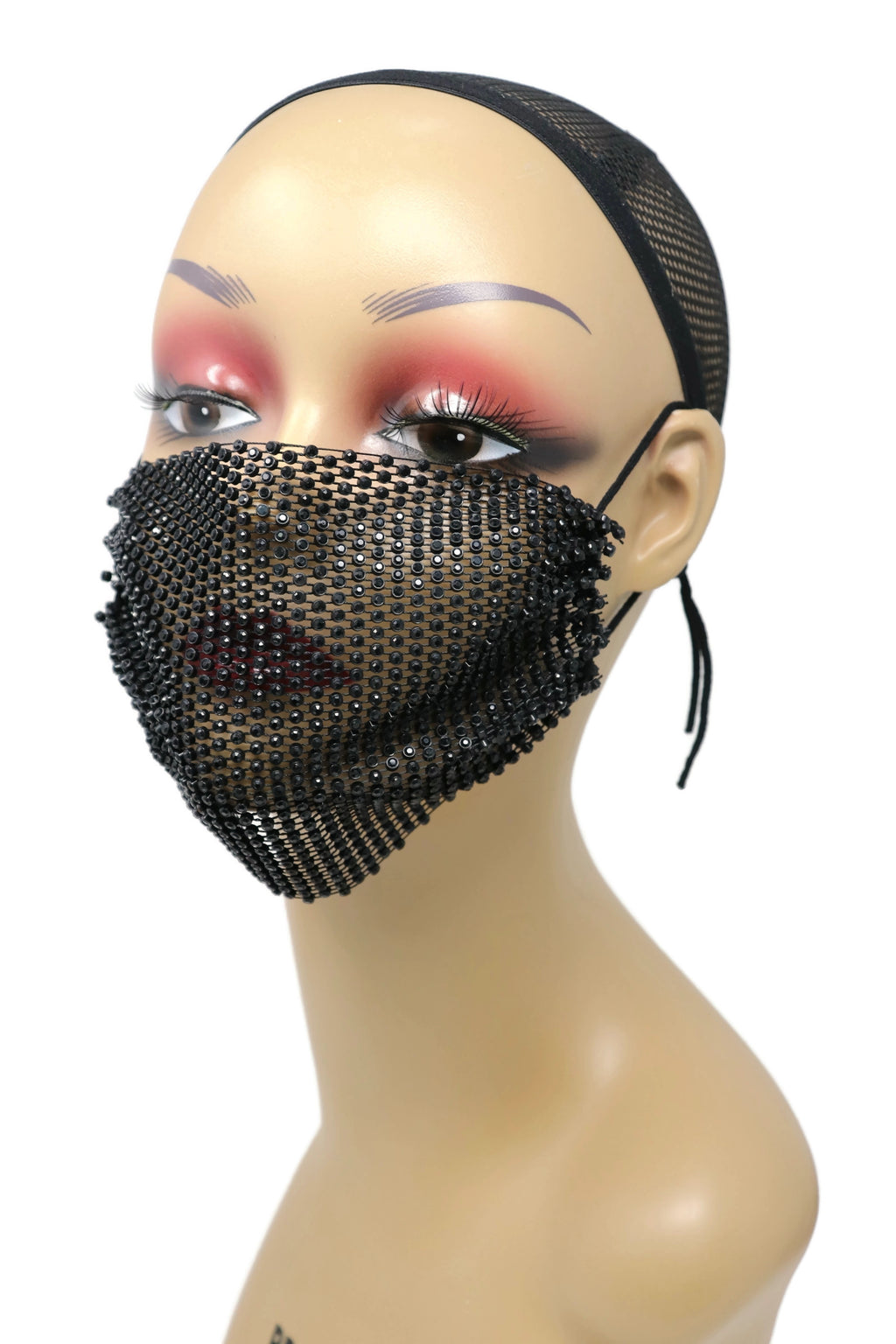 Grid Rhinestone Crystal Mask (Black Black)