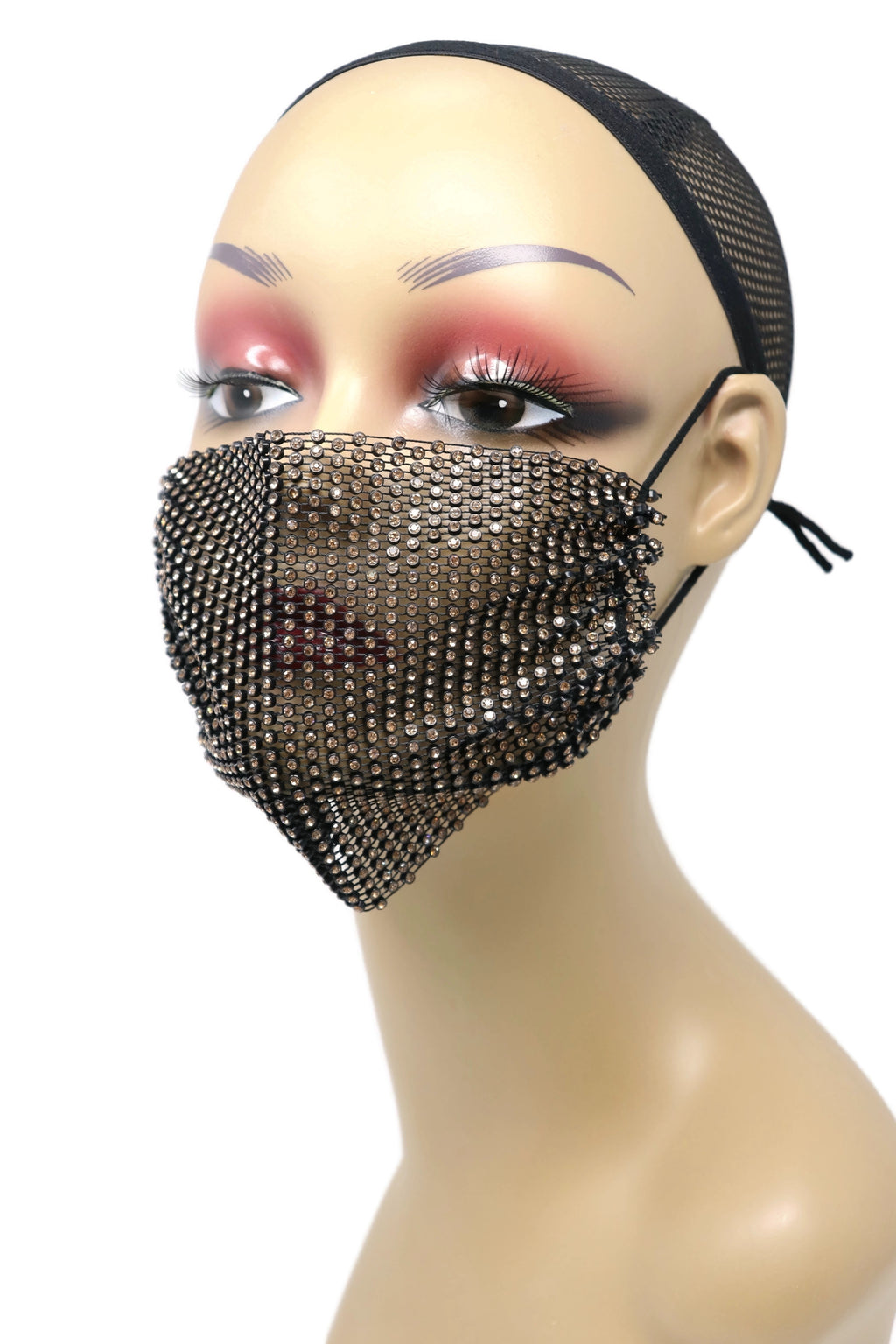 Grid Rhinestone Crystal Mask (Black Brown)
