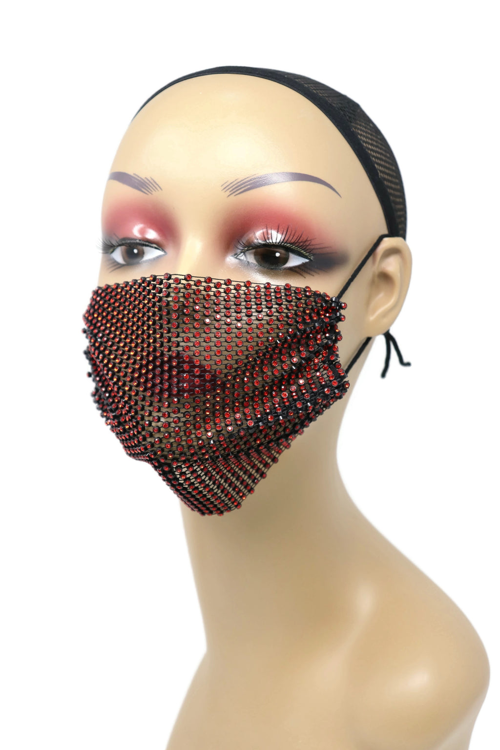 Grid Rhinestone Crystal Mask (red black)SOLDOut