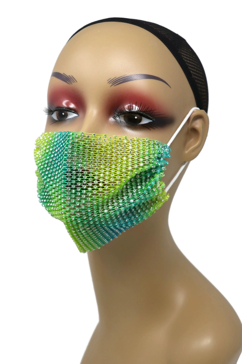 Grid Rhinestone Crystal Mask (Lime Multi)