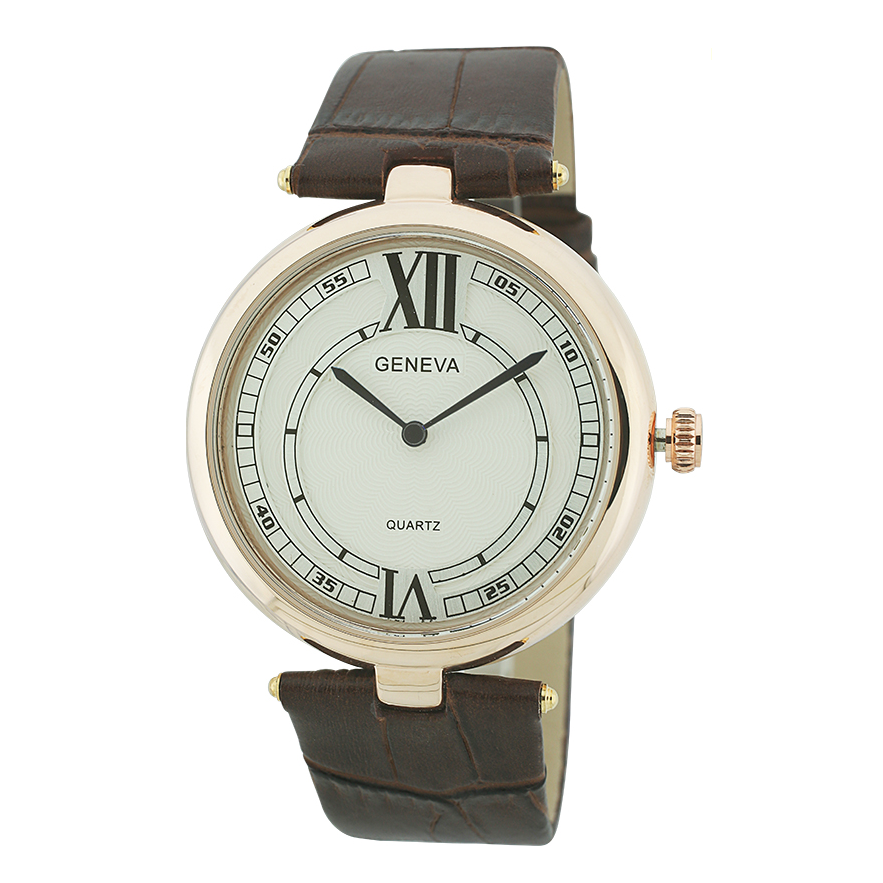 Round Face Leather Band Watch