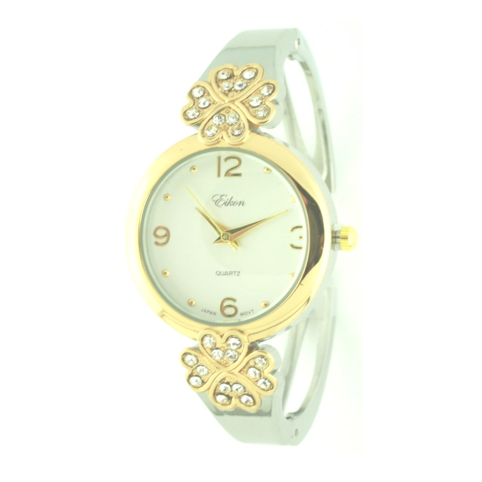 Round Face Arabic & Heart with Crystals Stones Cuff Watch.