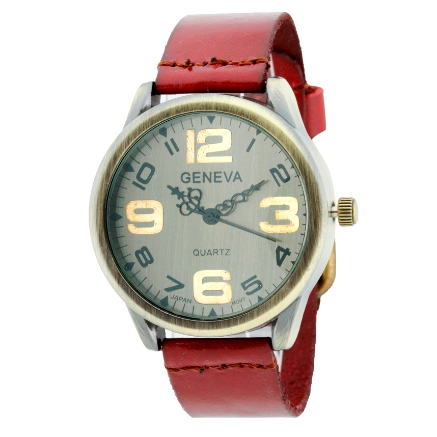 ANTIQUE UNISEX ROUND FACE STRAP WATCH WITH BIG NUMBERS
