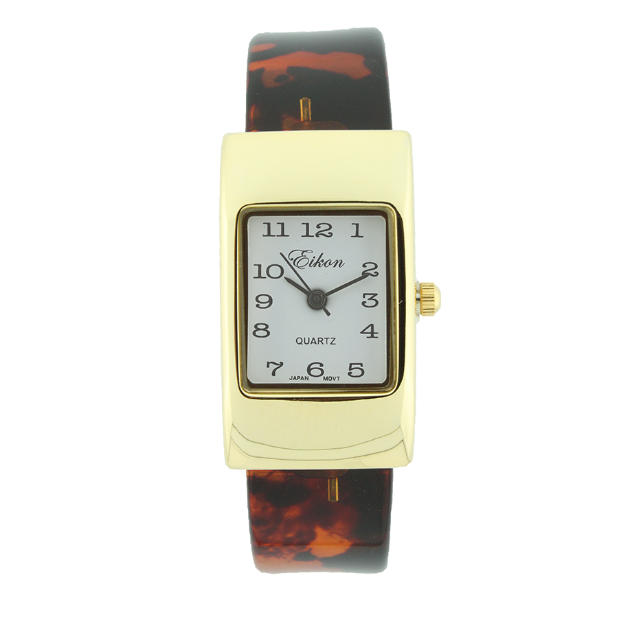 Rectangle Plain Face Hard Plastic Cuff Watch(Turtle shell)