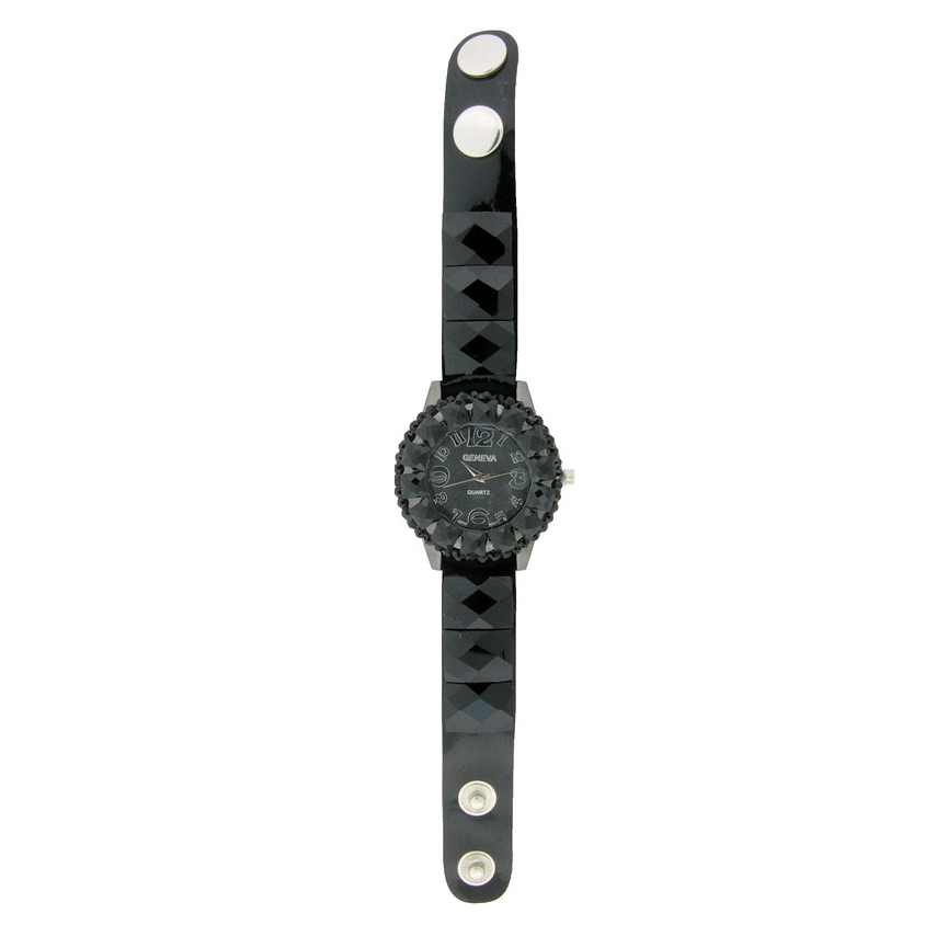 FANCY STRAP WATCH, ROUND FACE WITH SQUARE CRYSTALS AND BUTTON.
