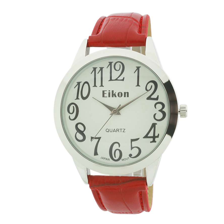 Big Numbers And Round Face Strap Watch