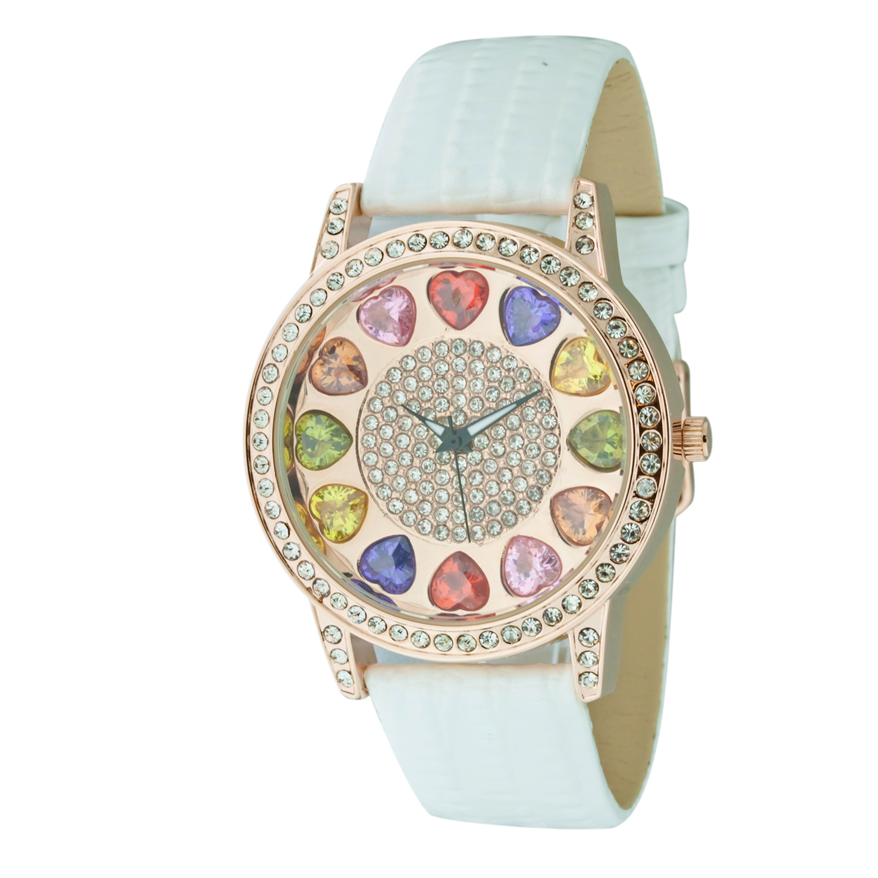 ROUND FACE AND MULTIPLE COLOR STONES ON DIAL, GENUINE LEATHER BAND LADY WATCH.