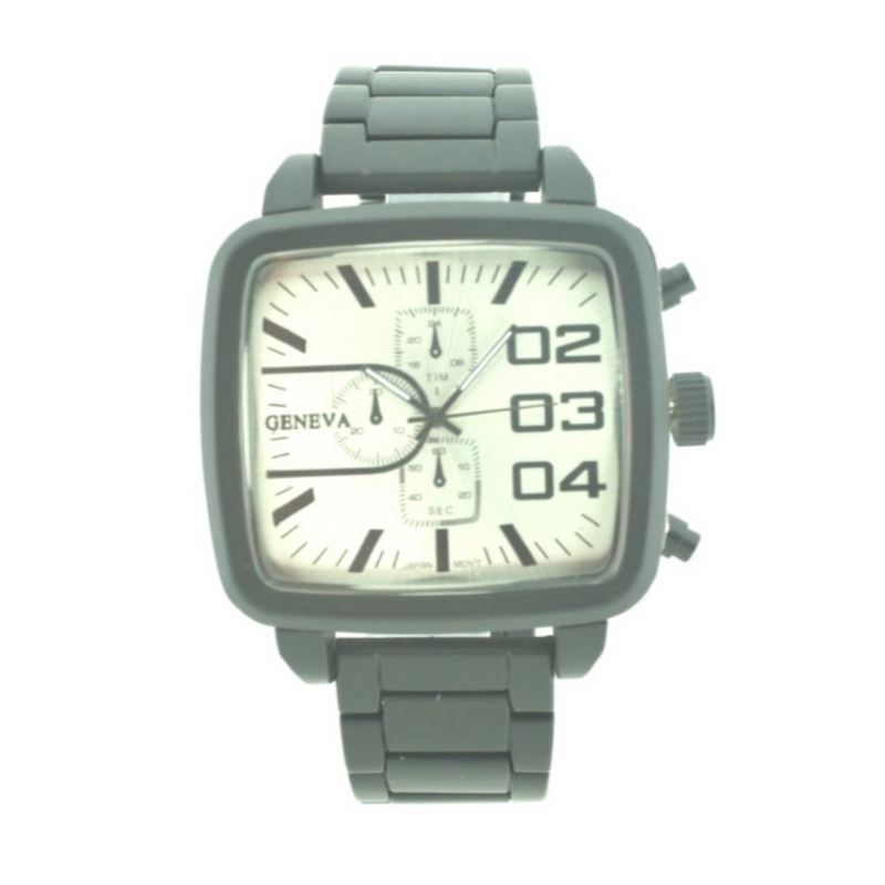 Sport Square Face Man Link Watch(Black face)