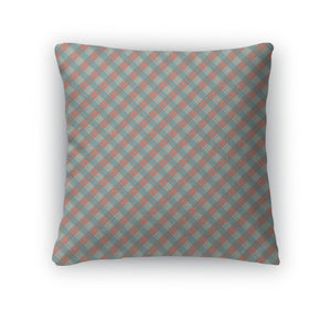 Throw Pillow, Vintage Of Diagonal Plaid Pattern Concept Illustration Pattern