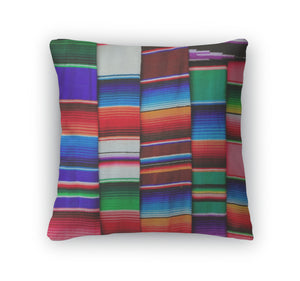 Throw Pillow, Mexican Serape Fabric Colorful Pattern