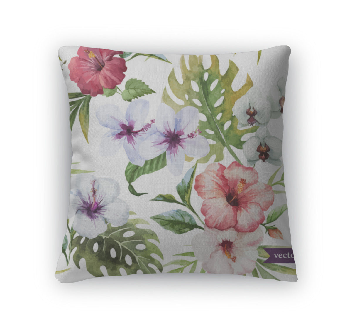 Throw Pillow, Watercolor Hibiscus Orchid White Palm Tropical Pattern Wallpaper