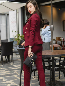 Fashionable Lapel Solid Fitted Women Suits