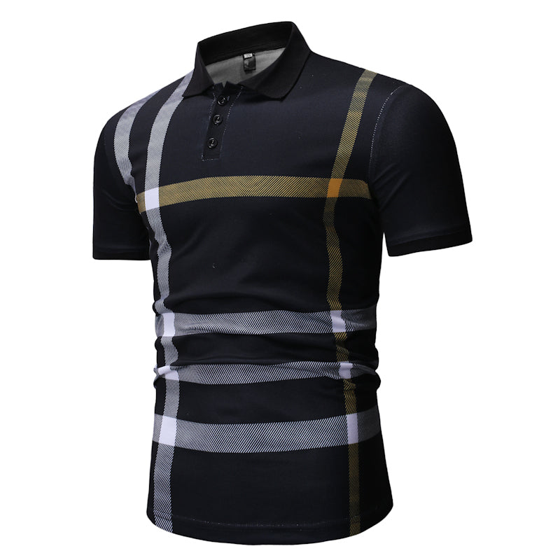 Fashion Striped Fitted Short Sleeve Polo Shirt