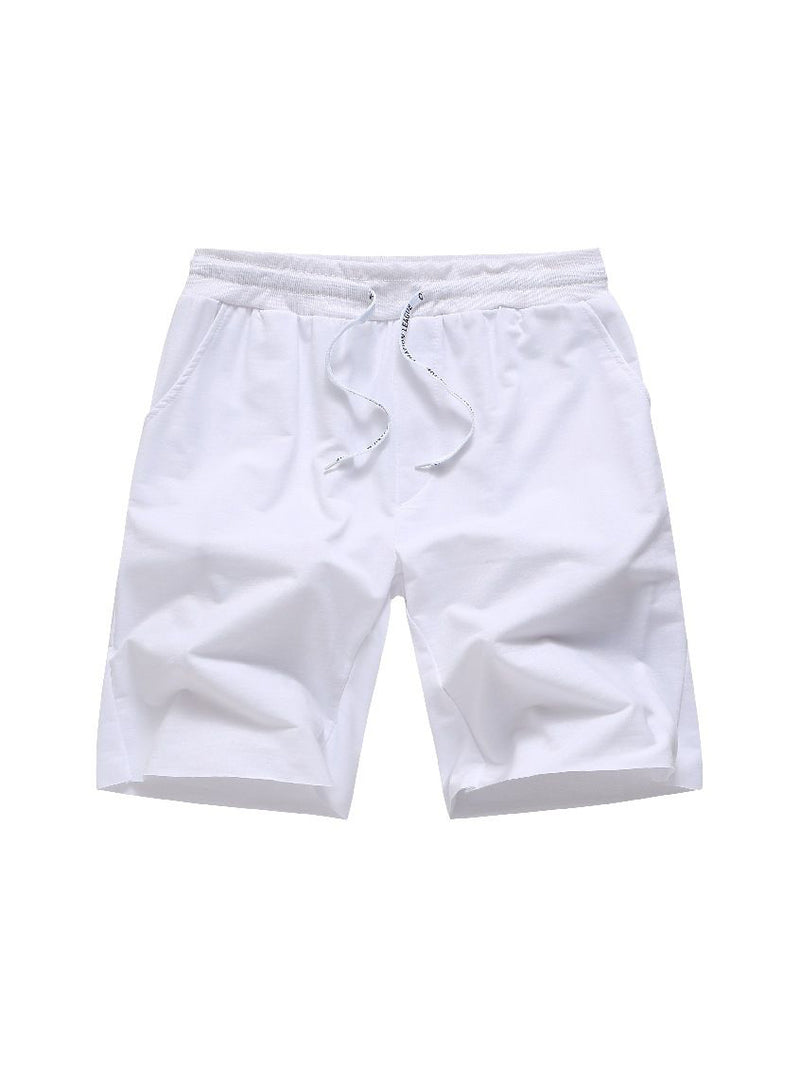 Solid Color Drawstring Short Pants For Men