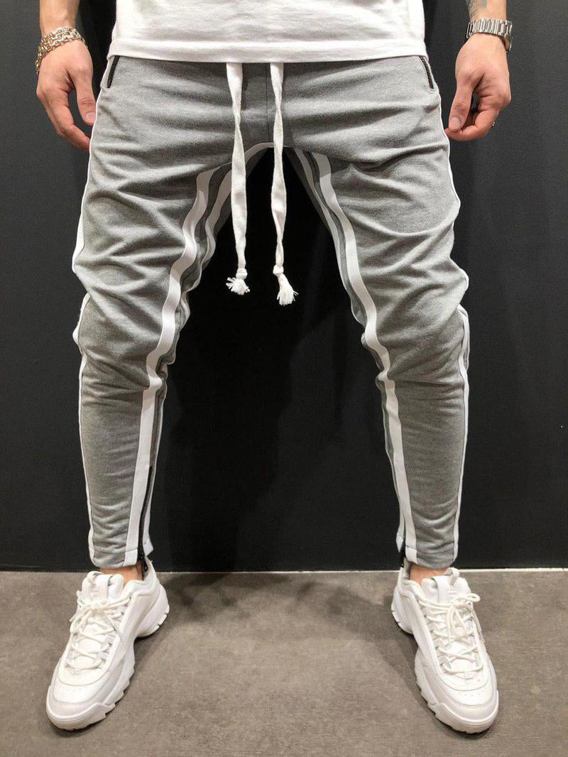Sporty Line Patchwork Drawstring Men Jogger Pants