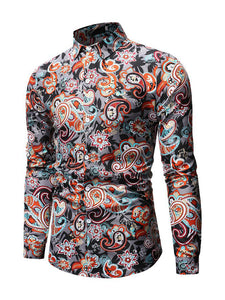 Contrast Color Printed Long Sleeve Shirts For Men
