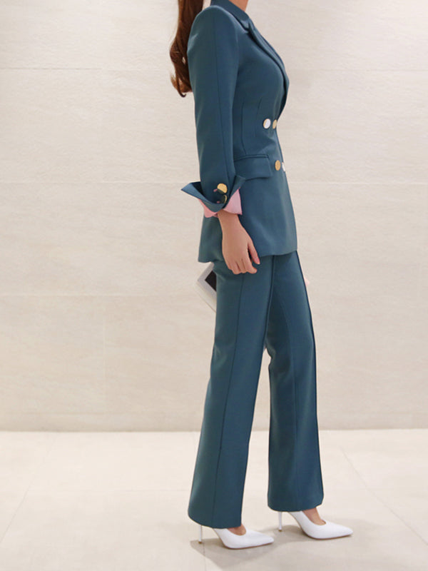 Pure Color Smart Waist Straight Suit For Ladies
