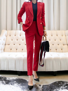 Red Multiple Pockets Ladies Suits For Work