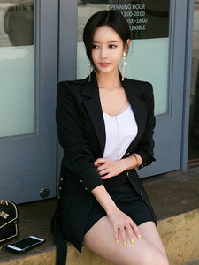 Fashion Single-Breasted Tie-Wrap Black Suit For Women