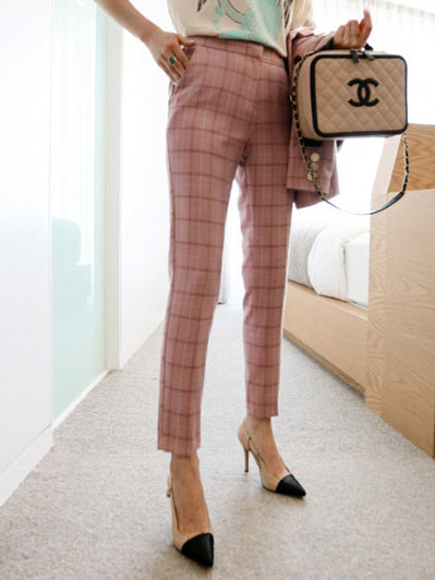 Boutique Button Up Pink Plaid Ladies Suits For Work