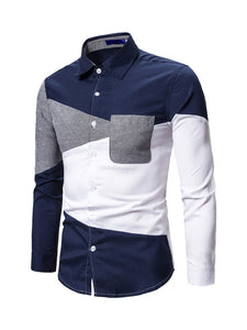 Slim Contrast Color Long Sleeve Shirts