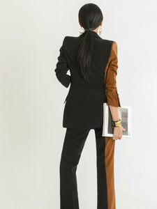 Stitching Color Button Up Straight Women Office Suit With Belt
