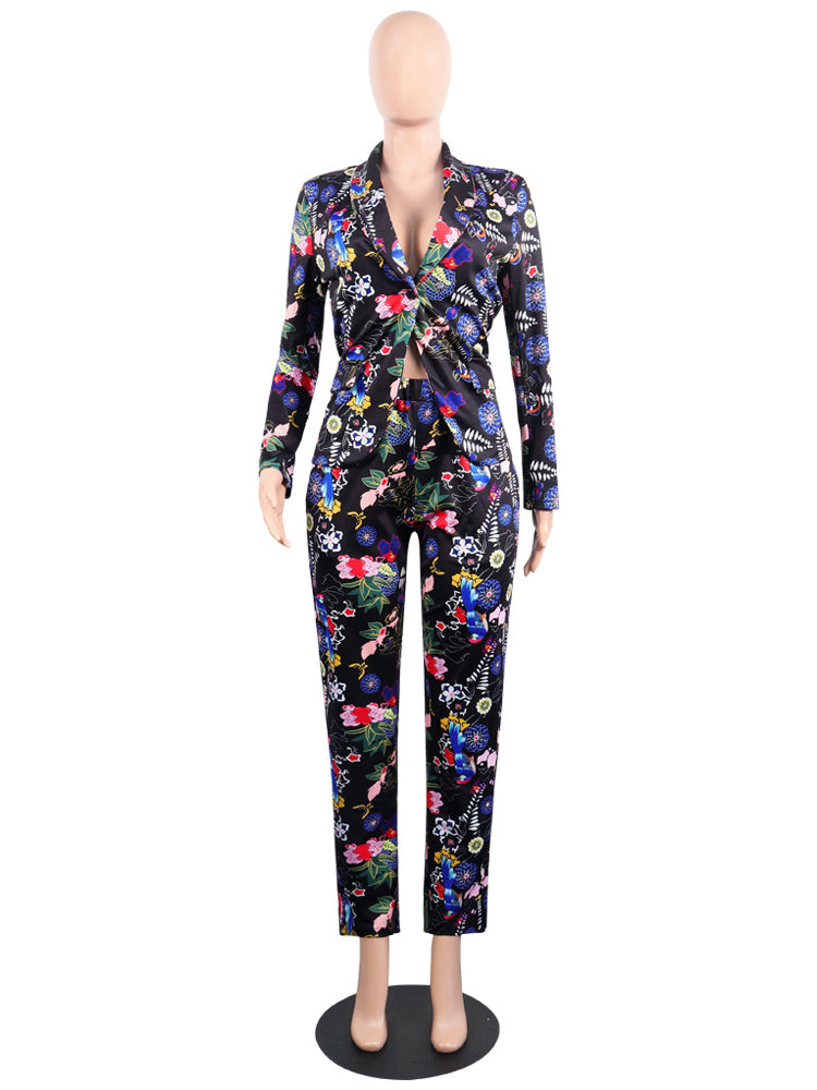 Fashion Printed Long Sleeve Suits For Women