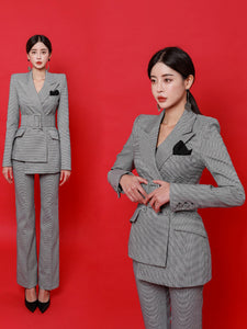 OL Style Irregular Hem Houndstooth Ladies Trouser Suits