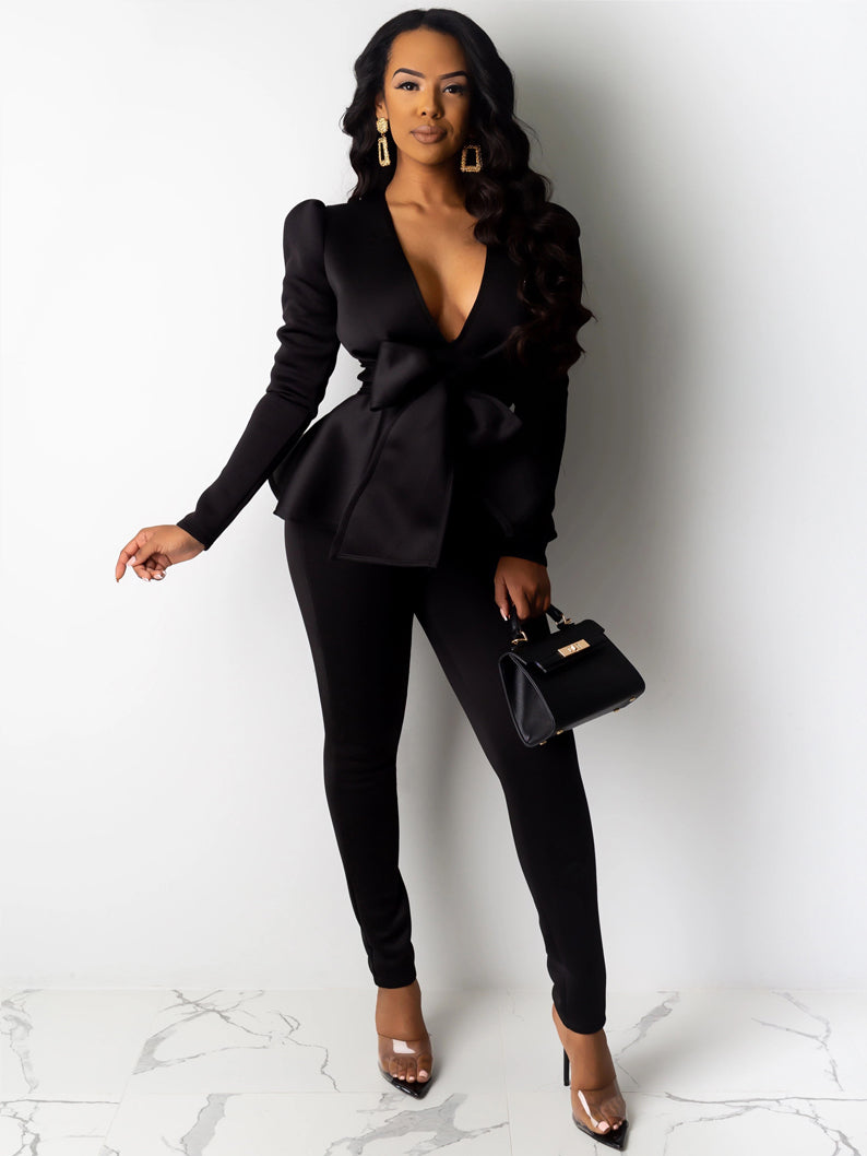 OL Style Bow Slim Fit Trouser Suits