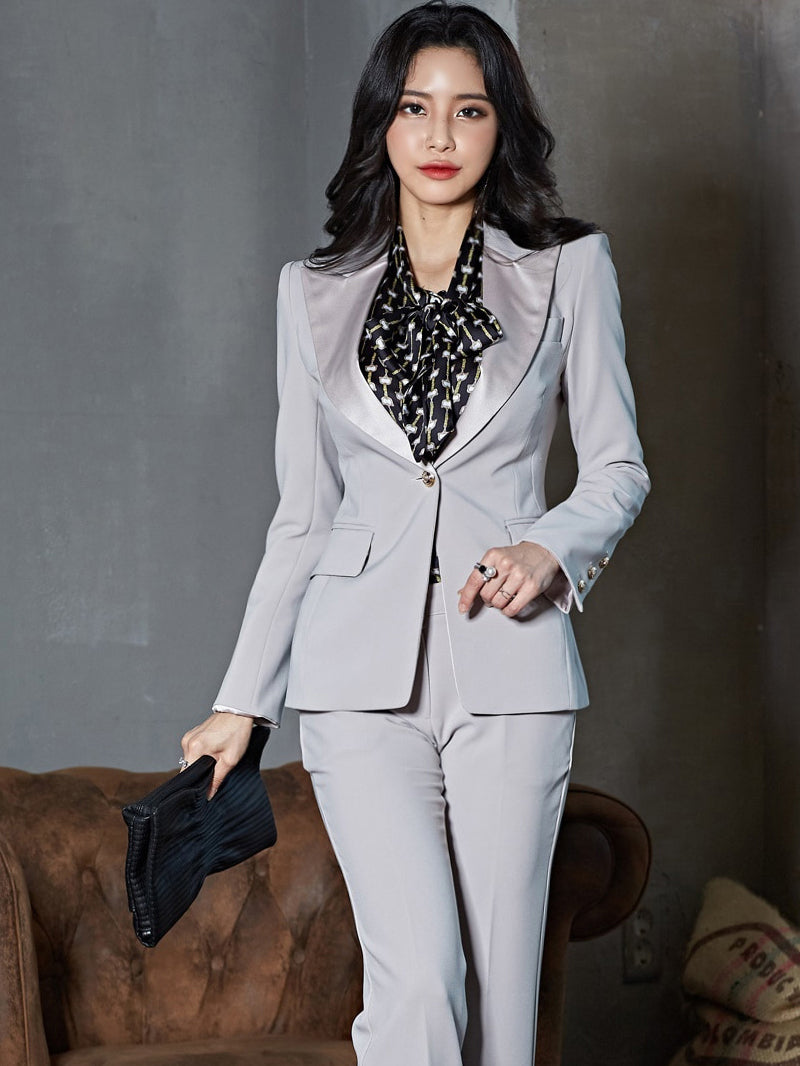 Ol Style Lapel Collar 2 Piece Gray Suits For Women