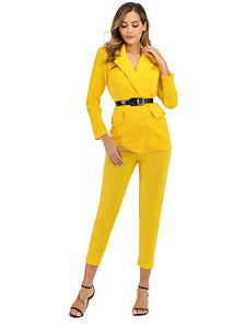 Solid Double-Breasted Long Sleeve Ladies Trouser Suits