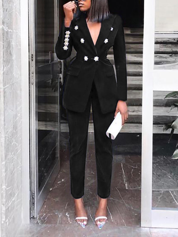Casual Double Breasted Solid Trouser Suits