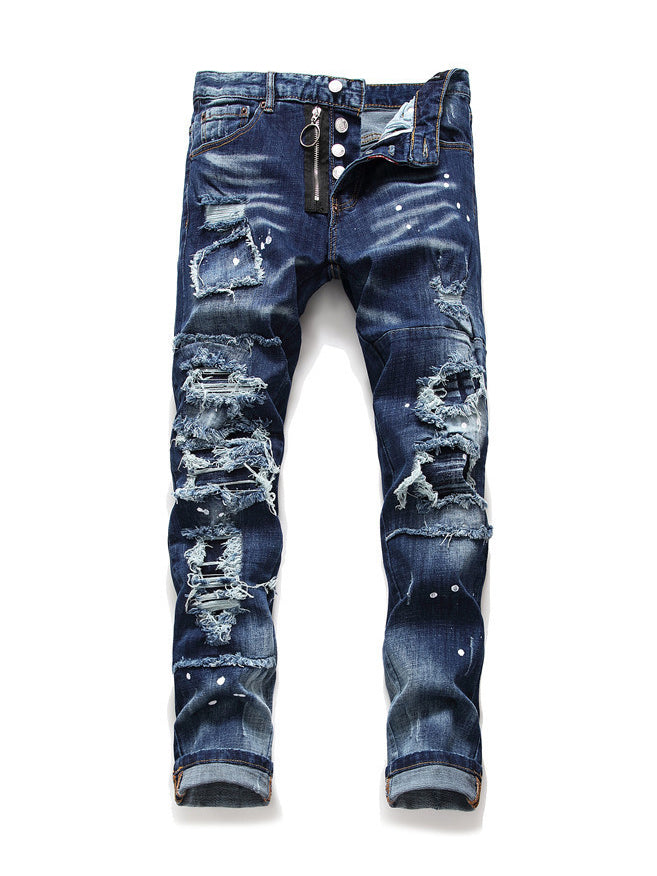 Button Fly Patch Men Distressed Jeans