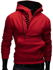 Stylish Letter Printing Zipper Design Hoodies