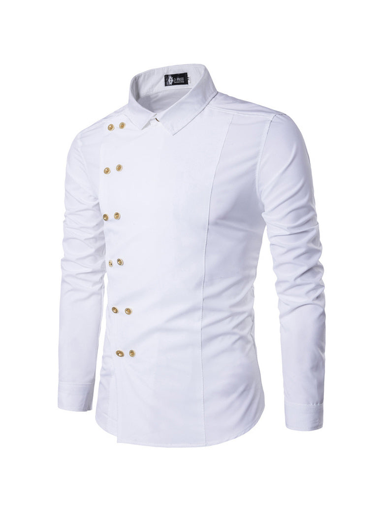 Slim Fit Side Button Decor Long Sleeve Shirts