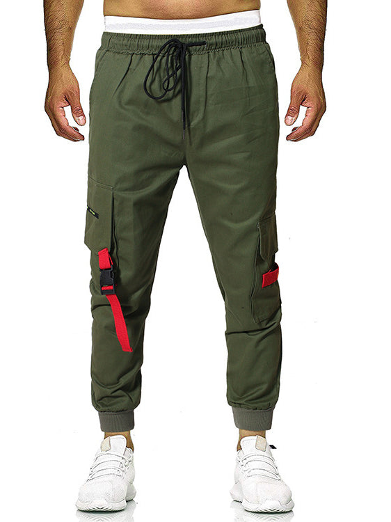 Casual Pockets Drawstring Cargo Pants