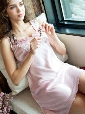 Solid Lace Detail Sleeveless Nightgowns For Women
