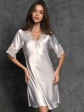 Lightweight Embroidered Detail V Neck Nightgowns For Women
