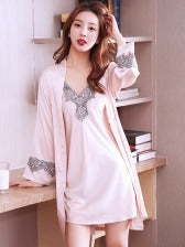 V Neck Slip Dress With Cardigan Robe For Night Time